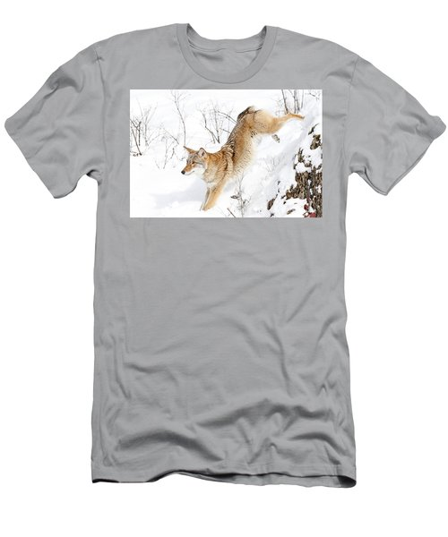 Coyote Jumping Through Snow Men's T-Shirt (Athletic Fit)