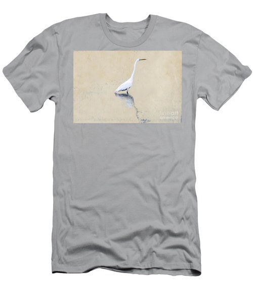 Crane In Water On Yellow Men's T-Shirt (Athletic Fit)