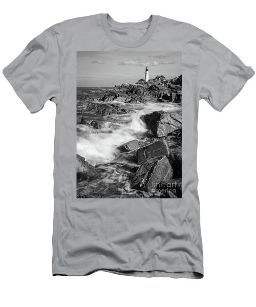 Crashing Waves, Portland Head Light, Cape Elizabeth, Maine  -5605 Men's T-Shirt (Slim Fit) by John Bald