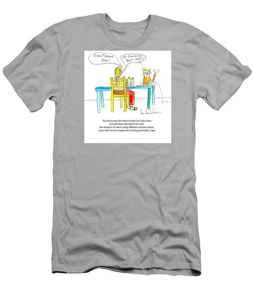 Men's T-Shirt (Slim Fit) featuring the painting Crazy Cat Lady 0009 by Lou Belcher