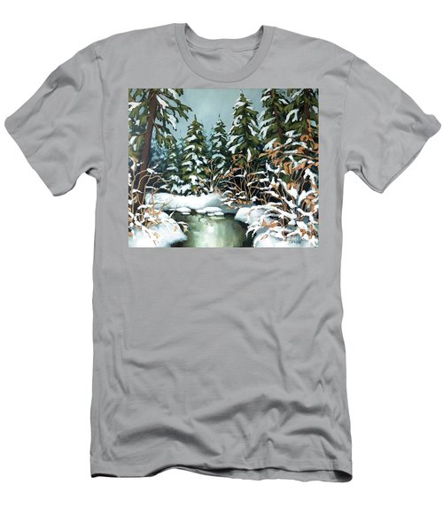 Creek, Winter, Snow Men's T-Shirt (Athletic Fit)