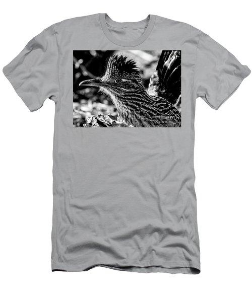 Cresting Roadrunner, Black And White Men's T-Shirt (Athletic Fit)