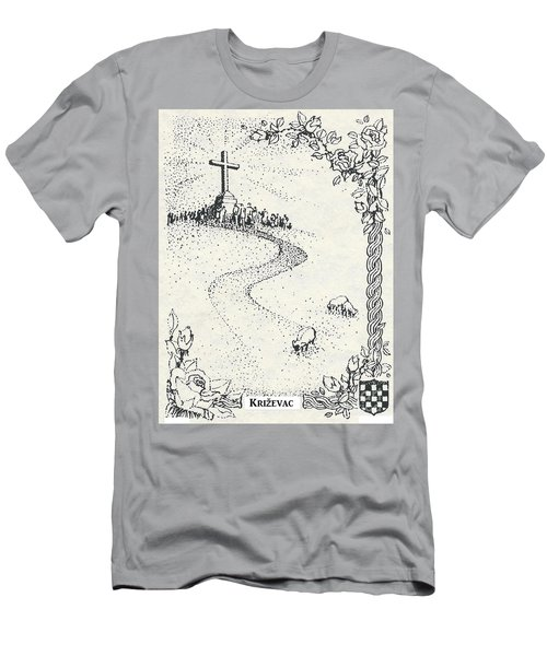 Men's T-Shirt (Slim Fit) featuring the drawing Cross Mt, Medjugorje  by Christina Verdgeline