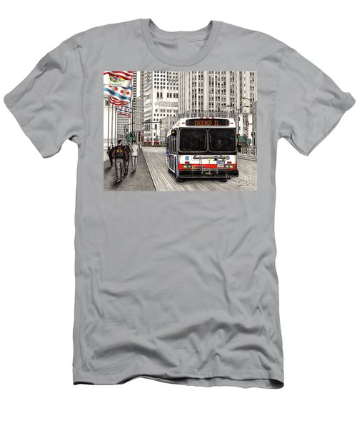 Cta Bus On Michigan Avenue Men's T-Shirt (Athletic Fit)