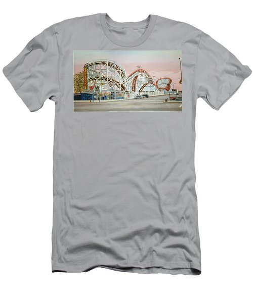 Cyclone Rollercoaster In Coney Island New York Men's T-Shirt (Athletic Fit)