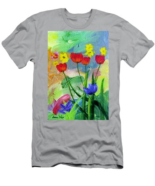 Men's T-Shirt (Slim Fit) featuring the painting Daria's Flowers by Jamie Frier