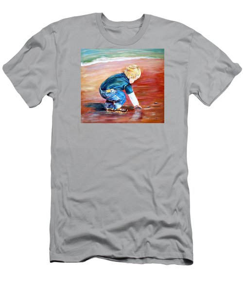 Men's T-Shirt (Slim Fit) featuring the painting Day At The Beach by Patricia Piffath