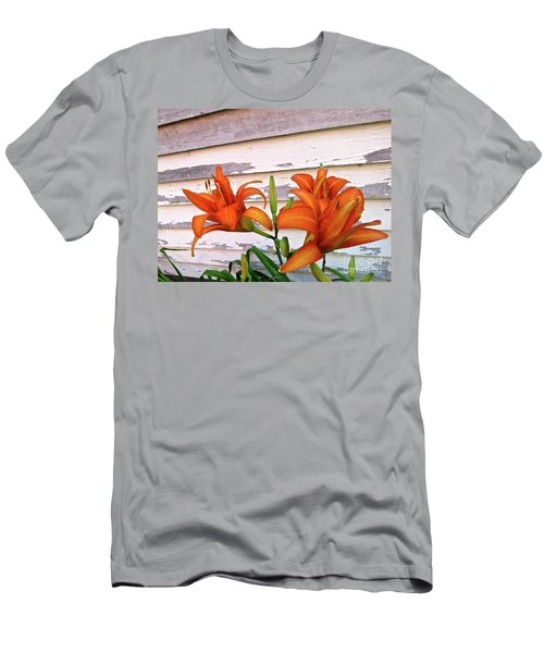Day Lilies And Peeling Paint Men's T-Shirt (Slim Fit) by Nancy Patterson