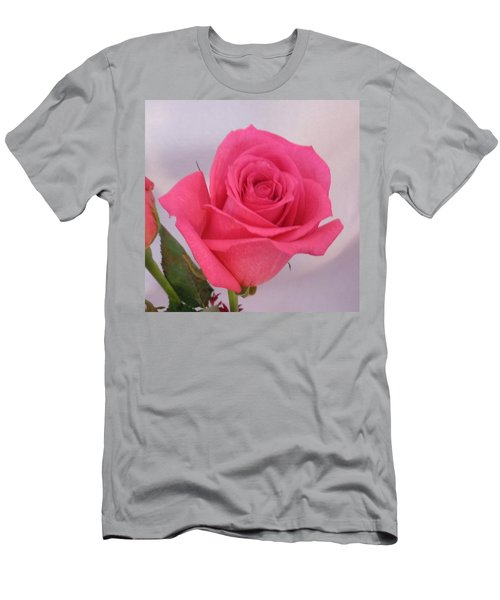 Single Deep Pink Rose Men's T-Shirt (Athletic Fit)