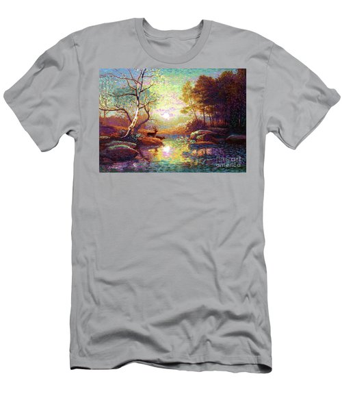 Men's T-Shirt (Slim Fit) featuring the painting Deer And Dancing Shadows by Jane Small