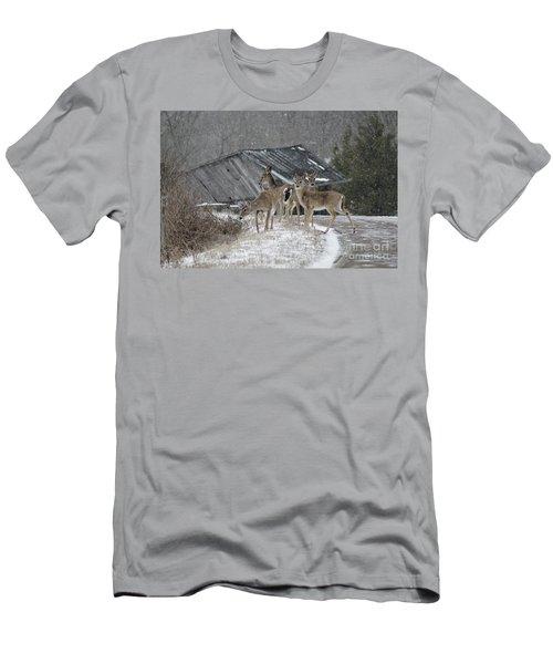 Deer Crossing Ahead Men's T-Shirt (Athletic Fit)