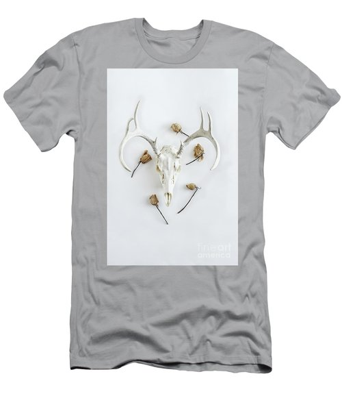 Men's T-Shirt (Slim Fit) featuring the photograph Deer Skull With Antlers And Roses by Stephanie Frey