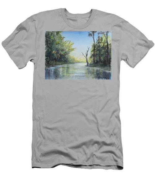 Men's T-Shirt (Slim Fit) featuring the painting Delaware River  by Luczay