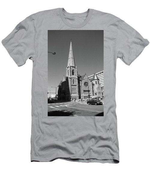 Denver Downtown Church Bw Men's T-Shirt (Slim Fit) by Frank Romeo