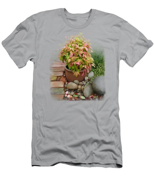 Men's T-Shirt (Athletic Fit) featuring the painting Dew On Leaves by Ivana Westin