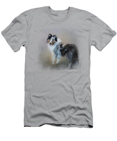 Did You Call Me - Blue Merle Shetland Sheepdog Men's T-Shirt (Slim Fit) by Jai Johnson