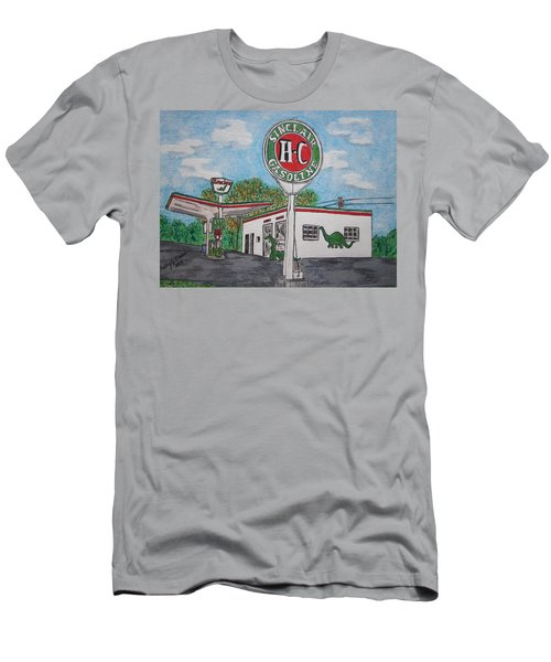 Men's T-Shirt (Slim Fit) featuring the painting Dino Sinclair Gas Station by Kathy Marrs Chandler