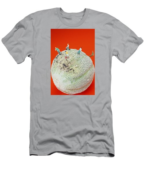 Men's T-Shirt (Slim Fit) featuring the painting Dirty Cleaning On Sweet Melon Little People On Food by Paul Ge