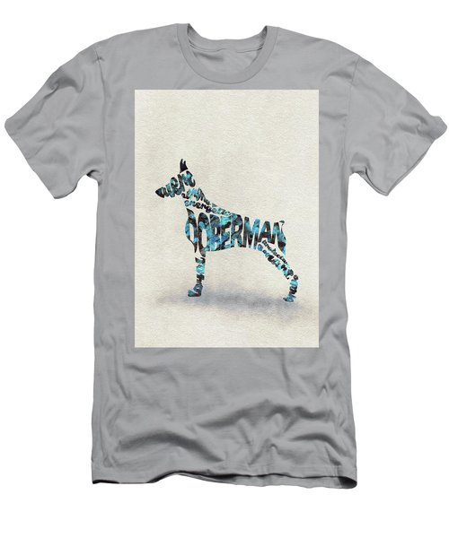 Men's T-Shirt (Athletic Fit) featuring the painting Doberman Pinscher Watercolor Painting / Typographic Art by Ayse and Deniz