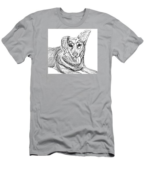 Dog Sketch In Charcoal 1 Men's T-Shirt (Slim Fit) by Ania Milo