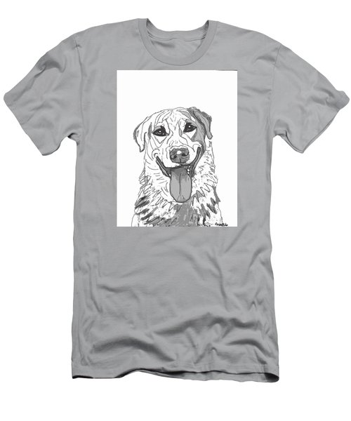 Dog Sketch In Charcoal 2 Men's T-Shirt (Slim Fit) by Ania M Milo