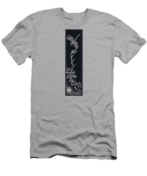 Men's T-Shirt (Slim Fit) featuring the drawing Dragonfly With Catspaw And Bug by Dawn Senior-Trask