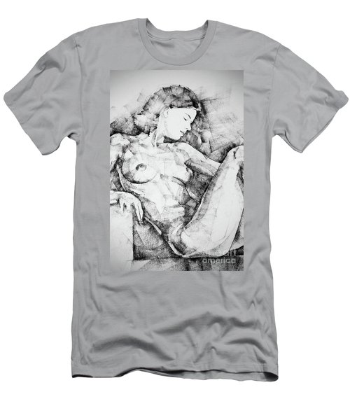 Drawing Beautiful Girl Figure Men's T-Shirt (Athletic Fit)