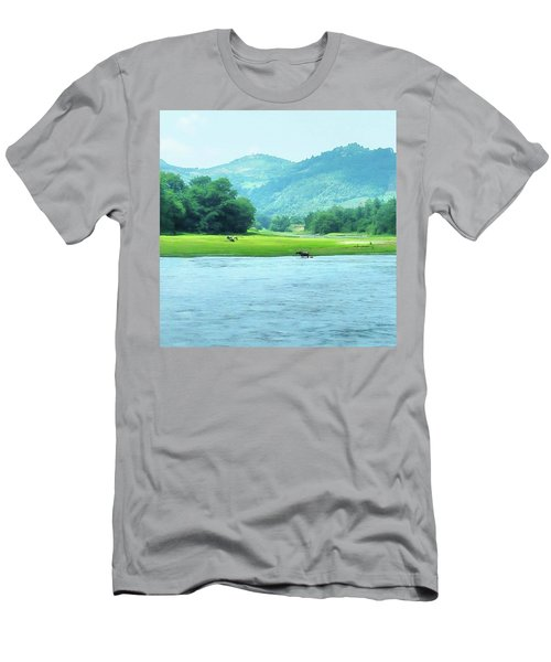Animals In Li River Men's T-Shirt (Athletic Fit)