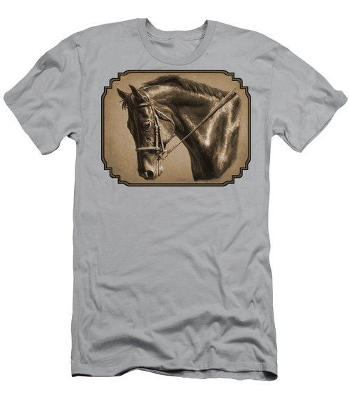 Dressage Horse Sepia Phone Case Men's T-Shirt (Athletic Fit)