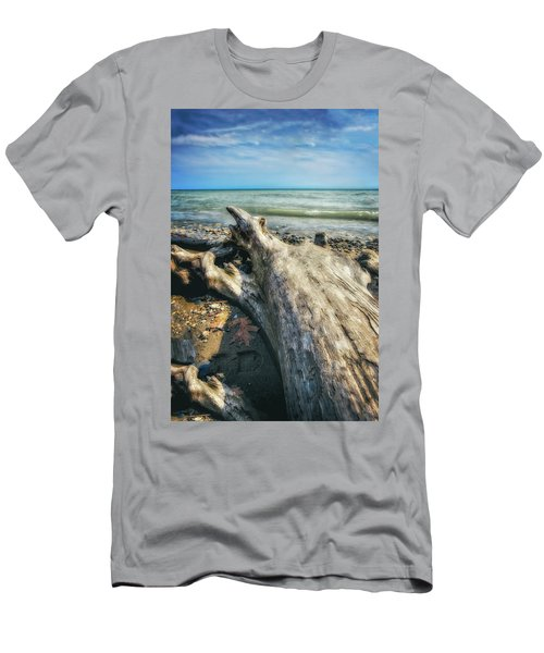 Men's T-Shirt (Slim Fit) featuring the photograph Driftwood On Beach - Grant Park - Lake Michigan Shoreline by Jennifer Rondinelli Reilly - Fine Art Photography