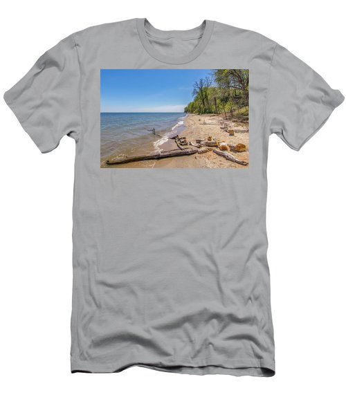 Men's T-Shirt (Athletic Fit) featuring the photograph Driftwood On The Beach by Charles Kraus