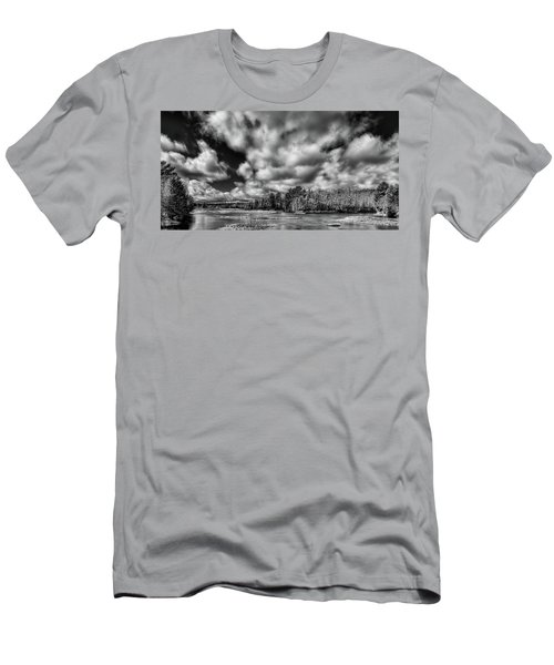 Men's T-Shirt (Slim Fit) featuring the photograph Dusting Of Snow On The River by David Patterson