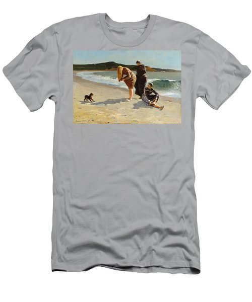 Men's T-Shirt (Slim Fit) featuring the painting Eagle Head, Manchester, Massachusetts - 1870 by Winslow Homer