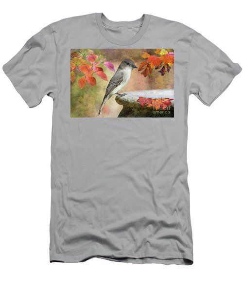 Eastern Phoebe In Autumn Men's T-Shirt (Slim Fit) by Bonnie Barry