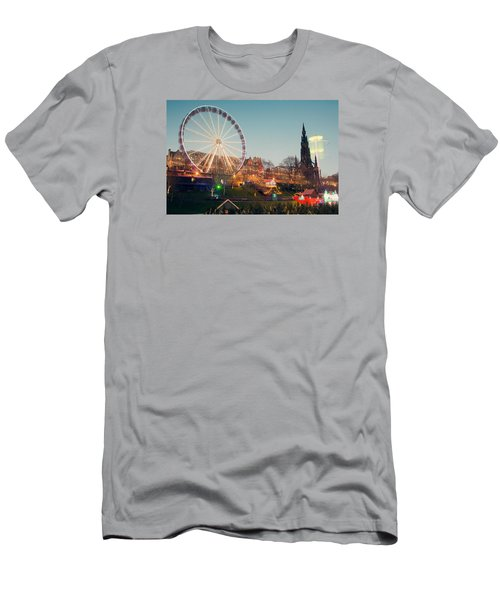 Edinburgh And The Big Wheel Men's T-Shirt (Slim Fit) by Ray Devlin