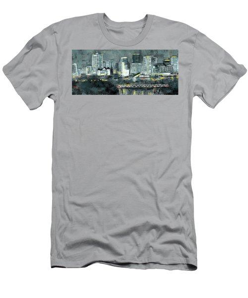 Edmonton Cityscape Painting Men's T-Shirt (Athletic Fit)