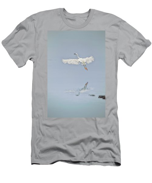 Egret Takes Flight Men's T-Shirt (Athletic Fit)