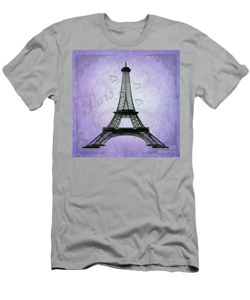Eiffel Tower Collage Purple Men's T-Shirt (Athletic Fit)