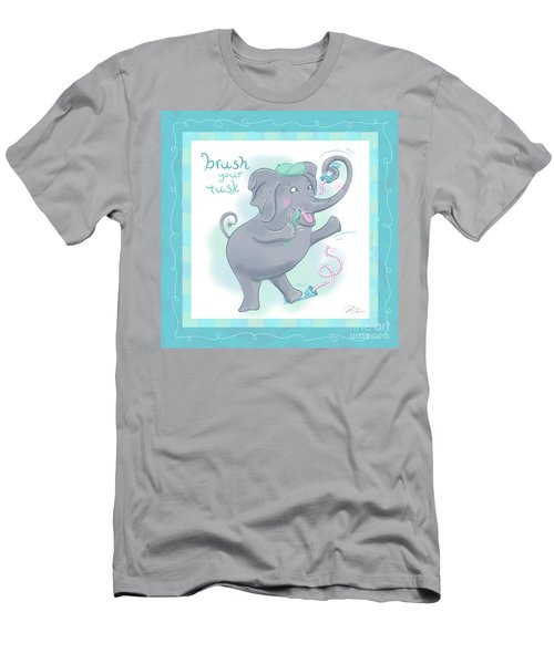 Elephant Bath Time Brush Your Tusk Men's T-Shirt (Athletic Fit)