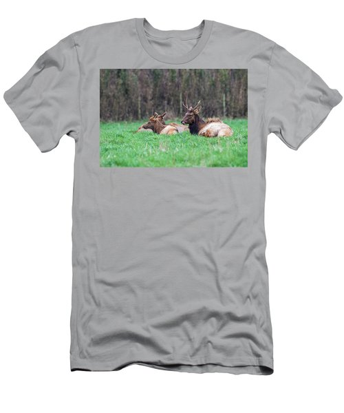 Men's T-Shirt (Slim Fit) featuring the photograph Elk Relaxing by Paul Freidlund