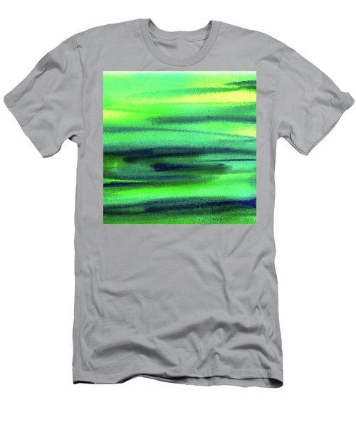 Emerald Flow Abstract Painting Men's T-Shirt (Slim Fit) by Irina Sztukowski