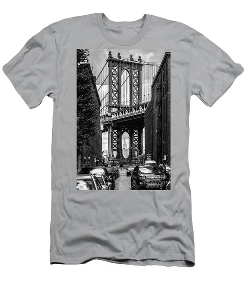 Empire State Building Framed By Manhattan Bridge Men's T-Shirt (Athletic Fit)