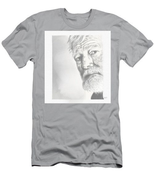 Men's T-Shirt (Slim Fit) featuring the drawing Ernest Hemingway by Antonio Romero
