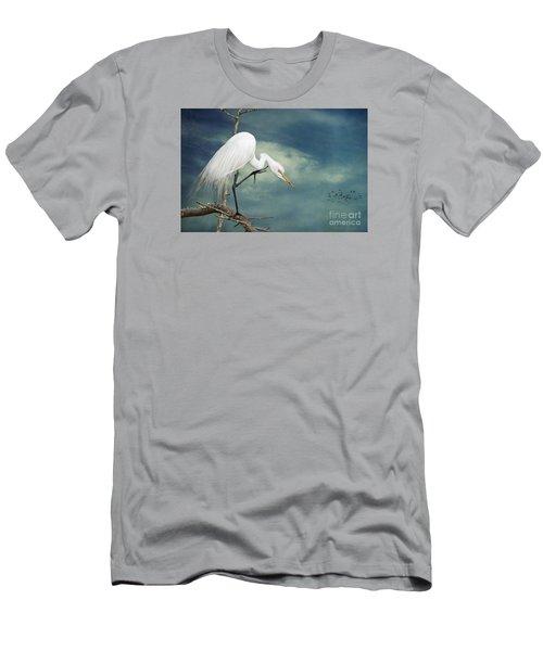 Evangeline Parish Egret Men's T-Shirt (Slim Fit) by Bonnie Barry