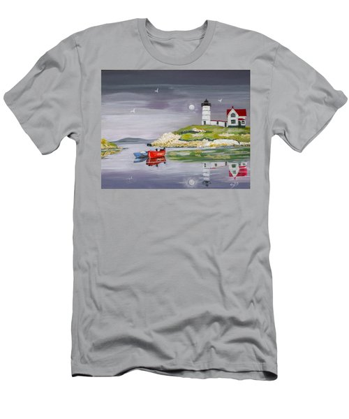 Men's T-Shirt (Slim Fit) featuring the painting Evening Lighthouse by Phyllis Kaltenbach