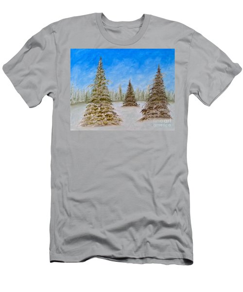 Evergreens In Snowy Field Enhanced Colors Men's T-Shirt (Athletic Fit)