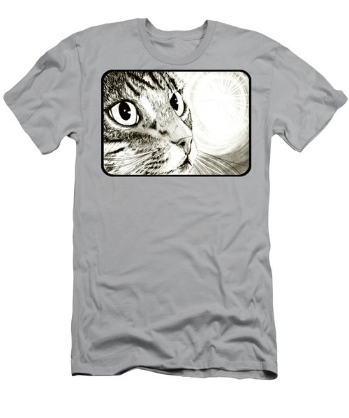 Men's T-Shirt (Slim Fit) featuring the drawing Fairy Light Tabby Cat Drawing by Carrie Hawks