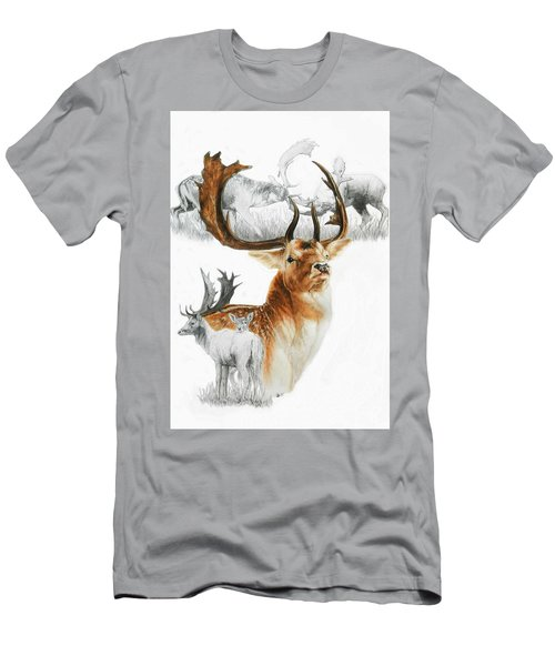 Men's T-Shirt (Athletic Fit) featuring the mixed media Fallow Deer by Barbara Keith