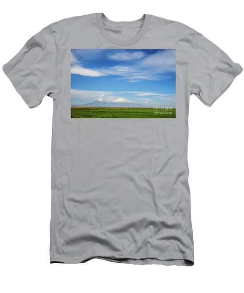 Famous Ararat Mountain Under Beautiful Clouds As Seen From Armenia Men's T-Shirt (Athletic Fit)