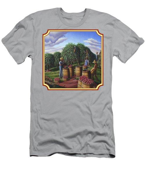 Farm Americana - Autumn Apple Harvest Country Landscape - Square Format Men's T-Shirt (Slim Fit) by Walt Curlee